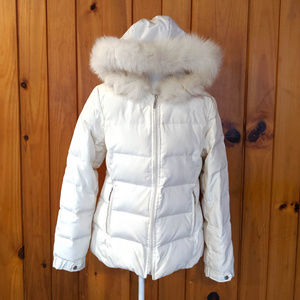 Down Puffer Fur Oscar de la Renta White Medium